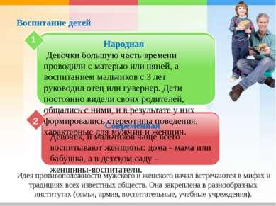 Воспитание детей 2 Народная Девочки большую часть времени проводили с матерью...