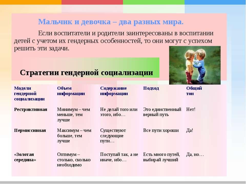 Мальчик и девочка – два разных мира. Если воспитатели и родители заинтересова...