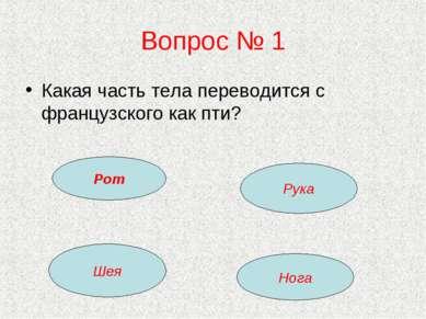 Вопрос № 1 Какая часть тела переводится с французского как пти? Рот Рука Шея ...