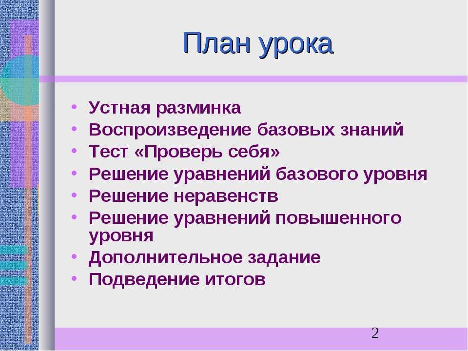 План урока Устная разминка Воспроизведение базовых знаний Тест «Проверь себя»...