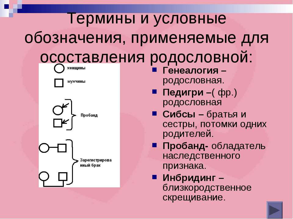 Термины и условные обозначения, применяемые для осоставления родословной: Ген...