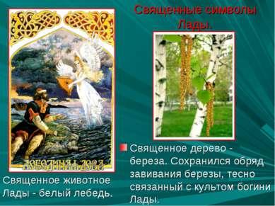 Священные символы Лады. Священное дерево - береза. Сохранился обряд завивания...