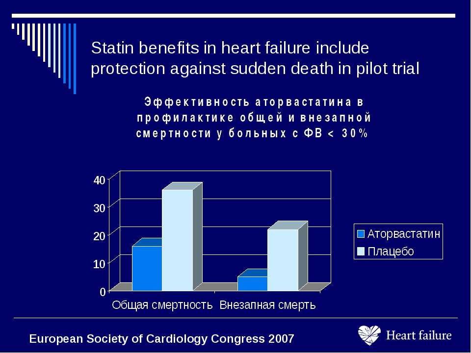 Statin benefits in heart failure include protection against sudden death in p...