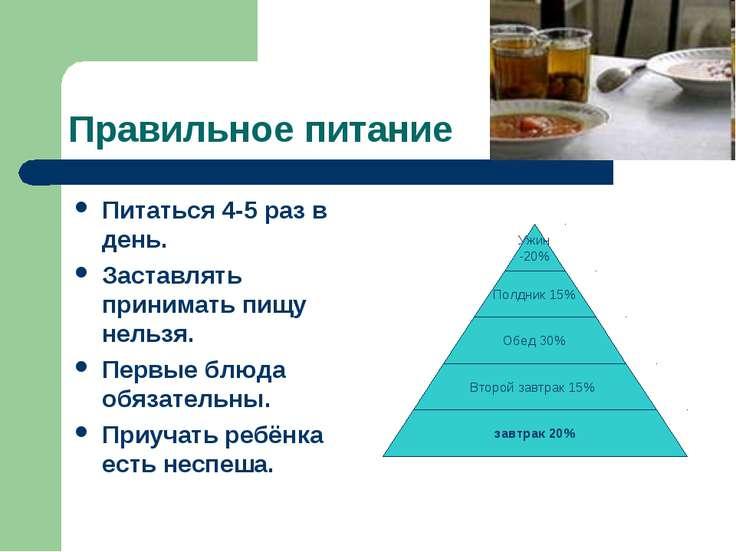 Правильное питание Питаться 4-5 раз в день. Заставлять принимать пищу нельзя....