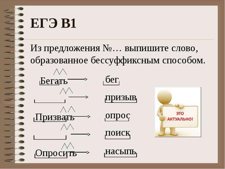 ЕГЭ В1 Из предложения №… выпишите слово, образованное бессуффиксным способом....