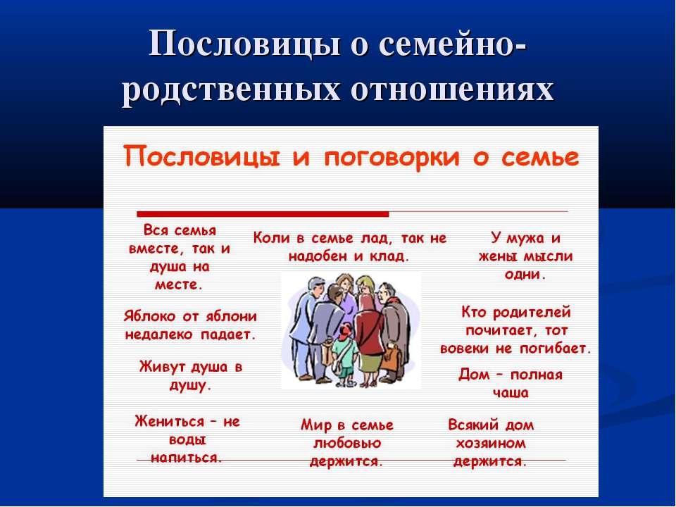 Пословицы о семейно-родственных отношениях