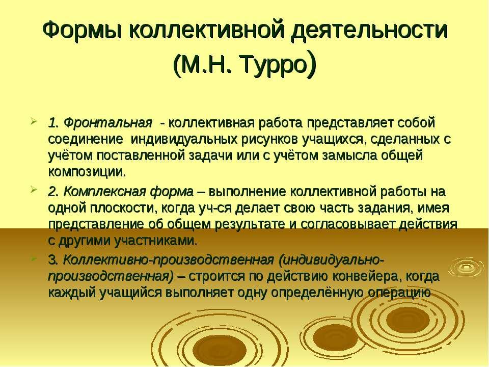 Формы коллективной деятельности (М.Н. Турро) 1. Фронтальная - коллективная ра...
