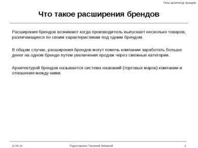 * Подготовлено Татьяной Зябкиной * Что такое расширения брендов Расширения бр...