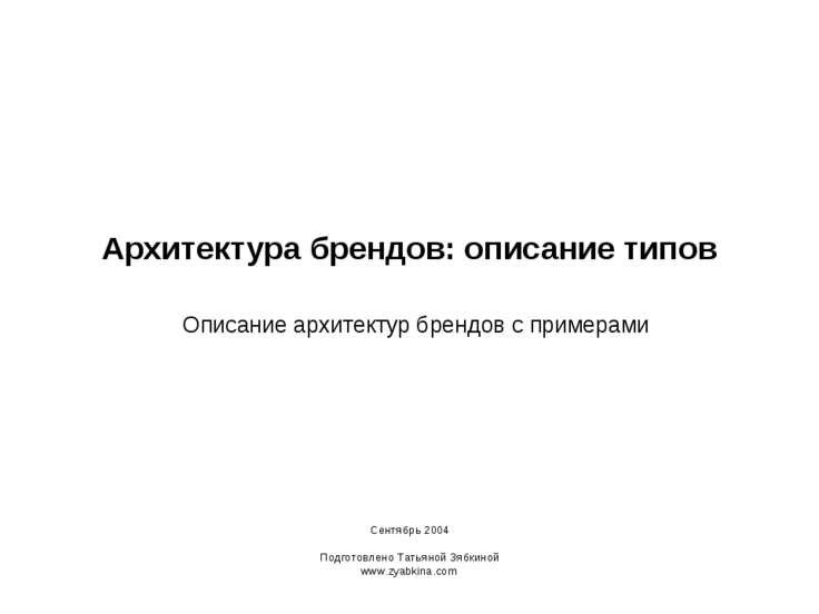 Архитектура брендов: описание типов Описание архитектур брендов с примерами С...