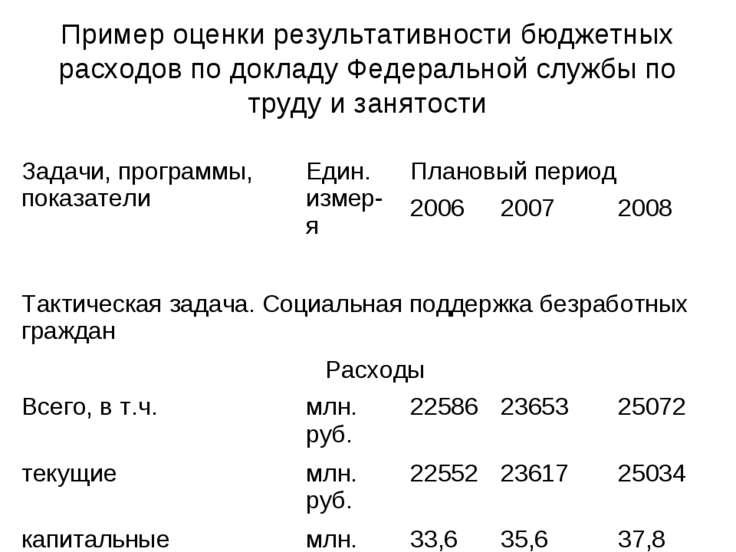 Пример оценки результативности бюджетных расходов по докладу Федеральной служ...