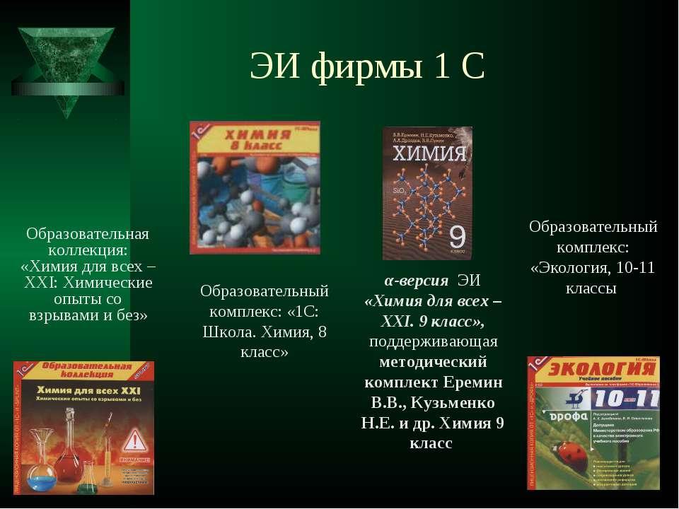 ЭИ фирмы 1 С Образовательная коллекция: «Химия для всех – XXI: Химические опы...