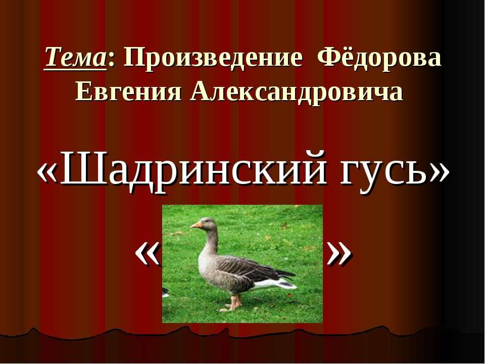 Тема: Произведение Фёдорова Евгения Александровича «Шадринский гусь» « »