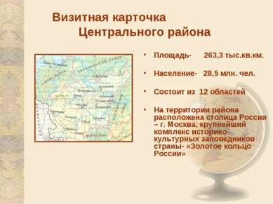 Визитная карточка Центрального района Площадь- 263,3 тыс.кв.км. Население- 28...