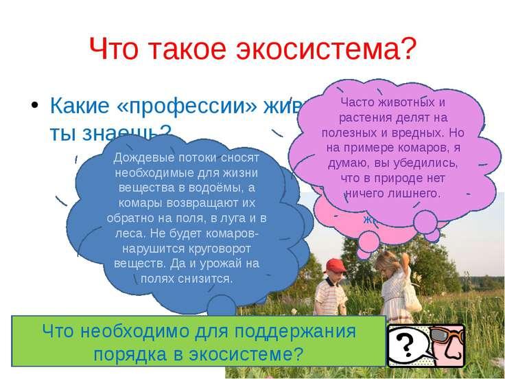 Что такое экосистема? Какие «профессии» живых организмов ты знаешь? Вот было ...