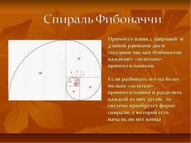 Прямоугольник с шириной и длиной равными двум соседним числам Фибоначчи назыв...