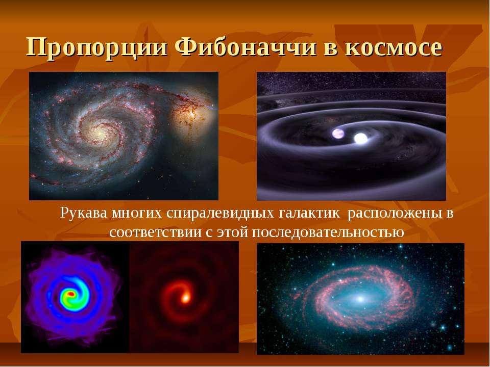 Рукава многих спиралевидных галактик расположены в соответствии с этой послед...