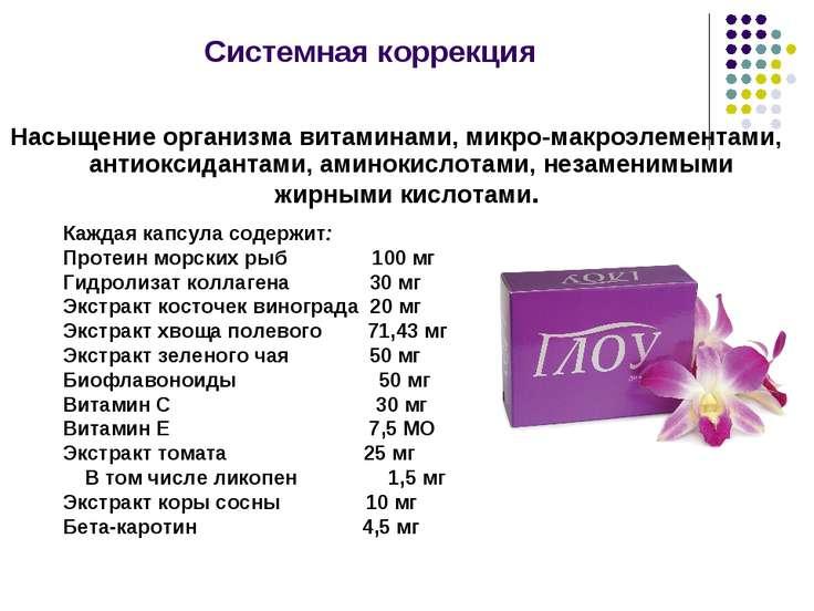 Системная коррекция Насыщение организма витаминами, микро-макроэлементами, ан...
