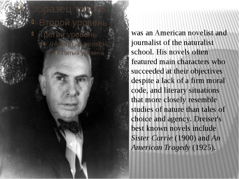 was an American novelist and journalist of the naturalist school. His novels ...