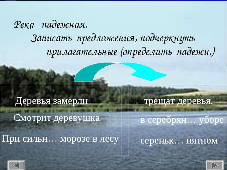 Река падежная. Записать предложения, подчеркнуть прилагательные (определить п...