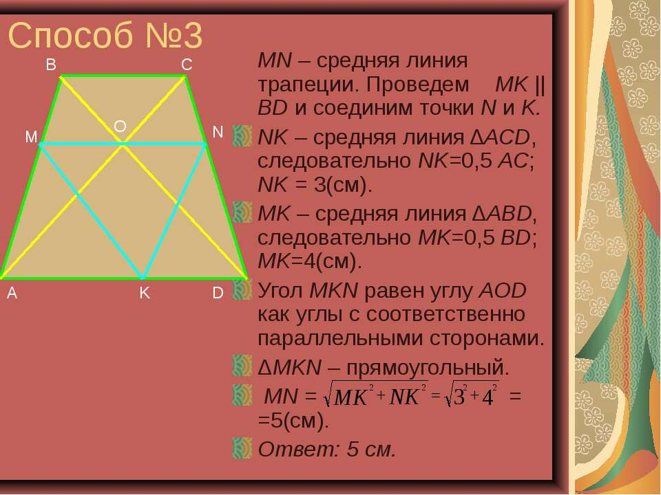Способ №3 MN – средняя линия трапеции. Проведем MK || BD и соединим точки N и...