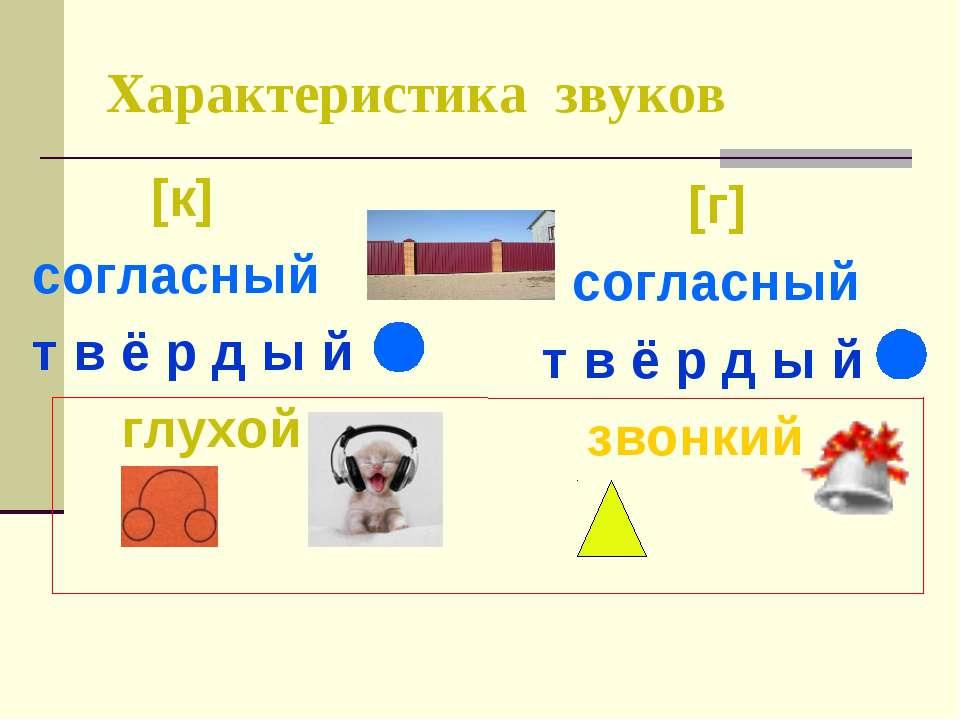 Характеристика звуков [к] согласный т в ё р д ы й глухой [г] согласный т в ё ...