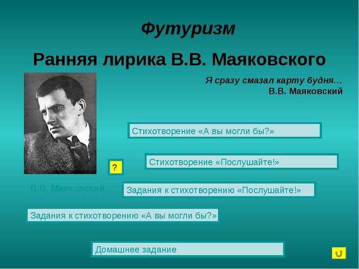 Ранняя лирика В.В. Маяковского Футуризм Стихотворение «А вы могли бы?» Стихот...