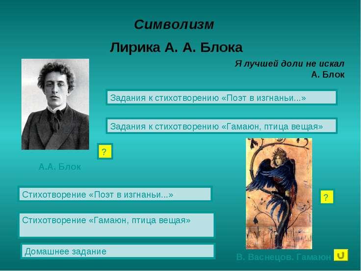 Символизм Лирика А. А. Блока Стихотворение «Поэт в изгнаньи...» Стихотворение...