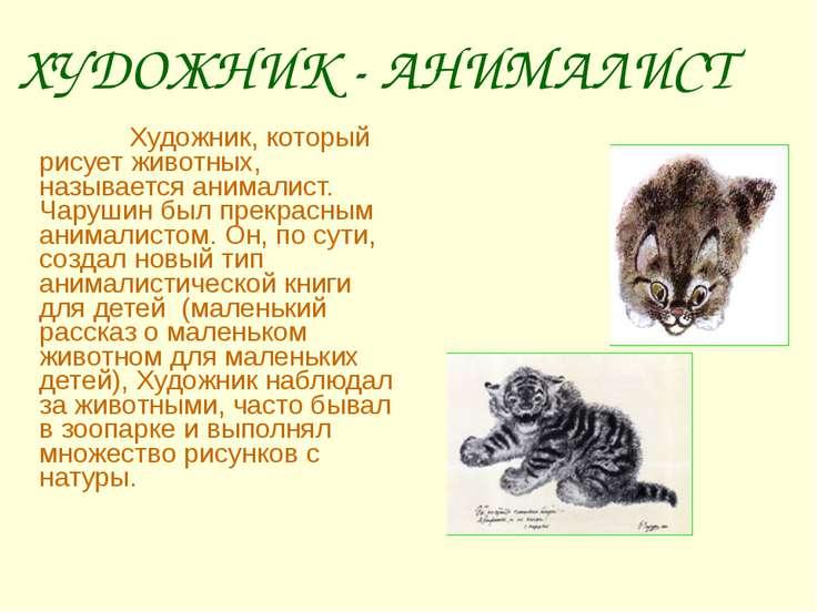 Художник, который рисует животных, называется анималист. Чарушин был пре...