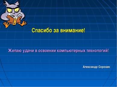 Спасибо за внимание! Желаю удачи в освоении компьютерных технологий! Александ...