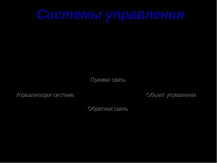 Системы управления Управление – планомерное воздействие на некоторый объект с...