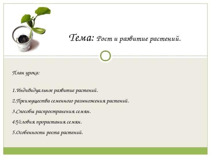 Тема: Рост и развитие растений. План урока: Индивидуальное развитие растений....