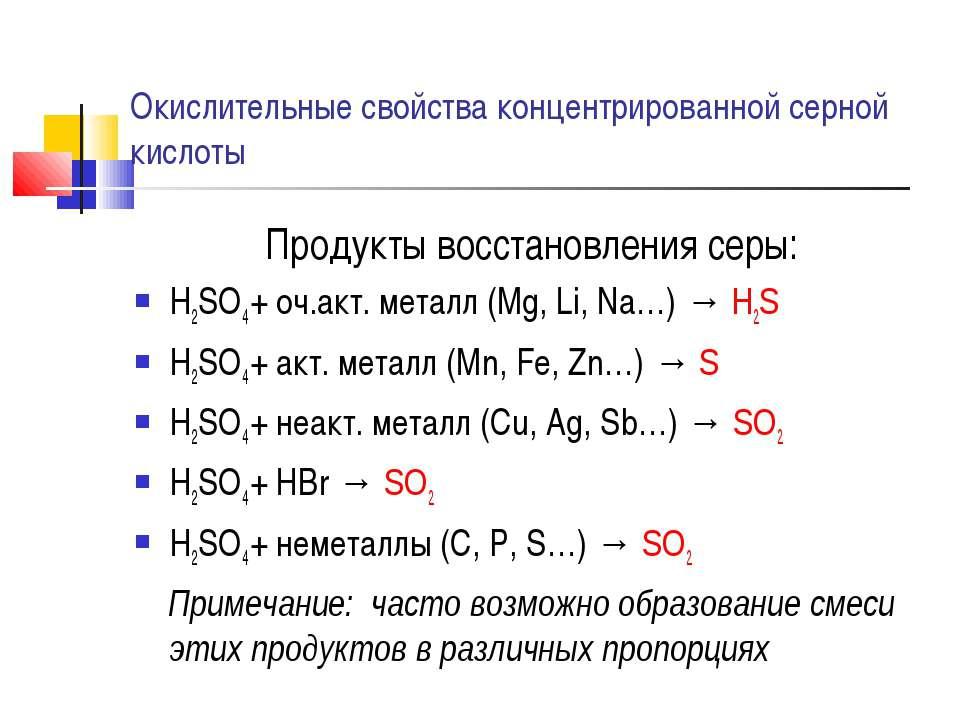 Окислительные свойства концентрированной серной кислоты Продукты восстановлен...