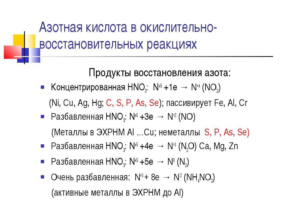 Азотная кислота в окислительно-восстановительных реакциях Продукты восстановл...