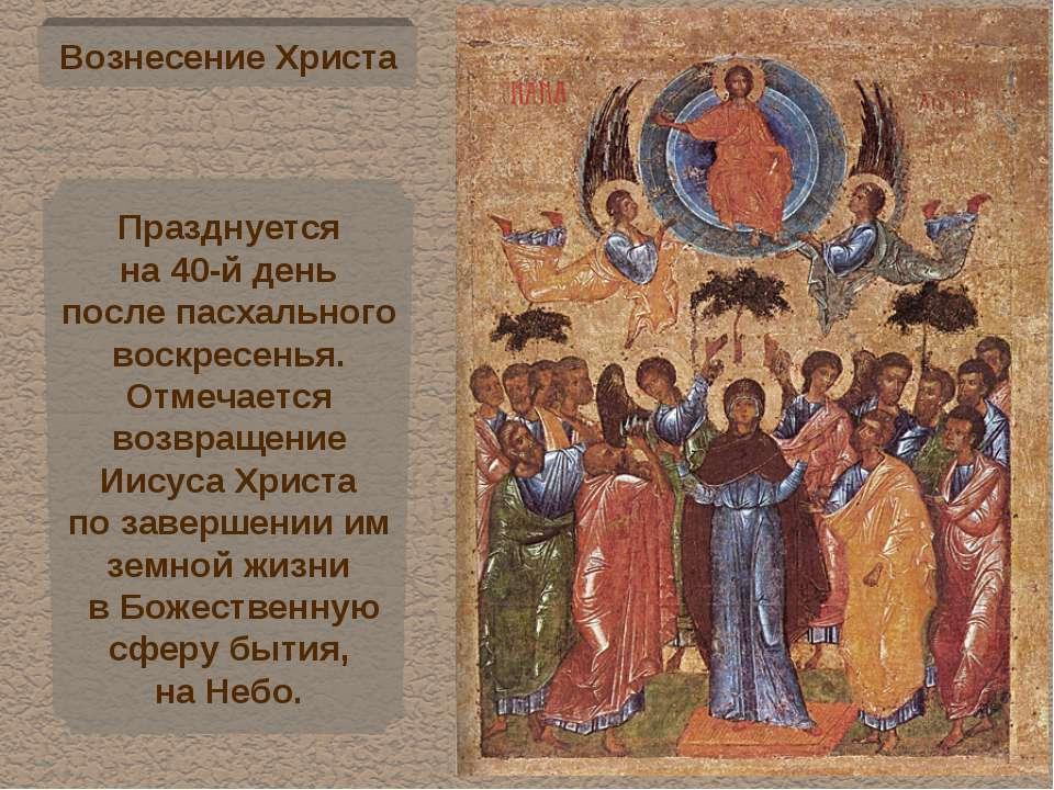 Вознесение Христа Празднуется на 40-й день после пасхального воскресенья. Отм...