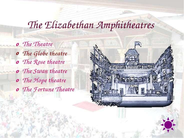 The Elizabethan Amphitheatres The Theatre The Globe theatre The Rose theatre ...