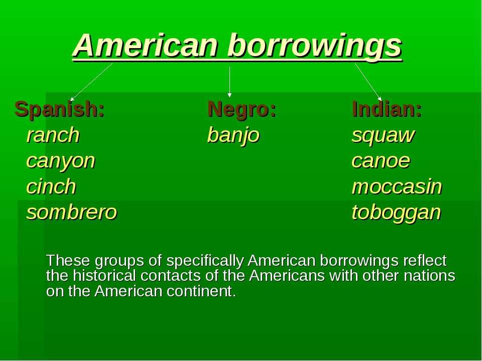 American borrowings Spanish: Negro: Indian: ranch banjo squaw canyon canoe ci...