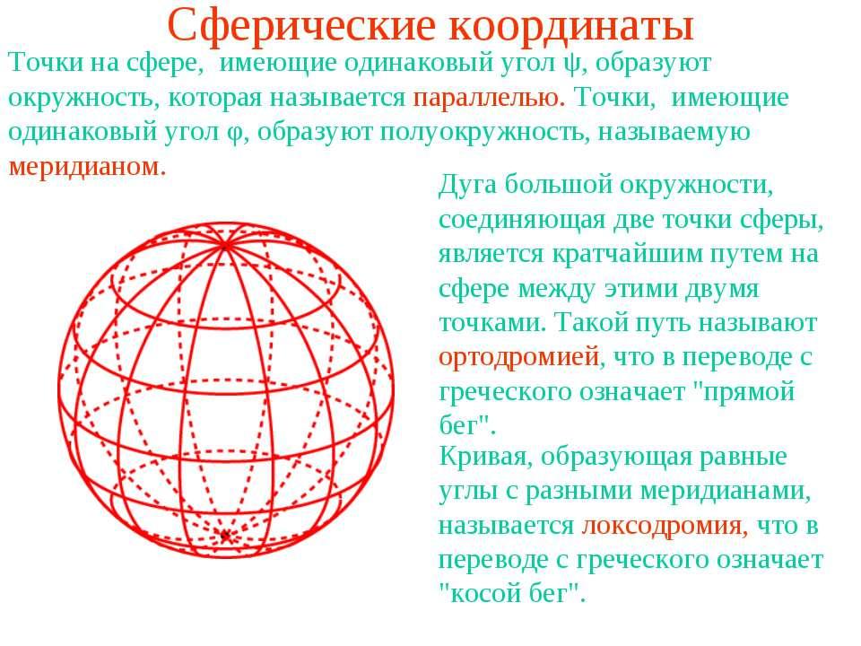 Сферические координаты Точки на сфере, имеющие одинаковый угол ψ, образуют ок...