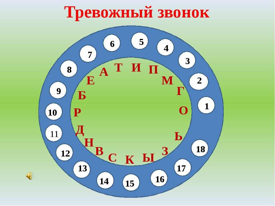 Тревожный звонок 11 1 2 3 4 5 6 7 8 9 10 11 12 13 О Г М П И Т А Е Б Р Д Н В 1...