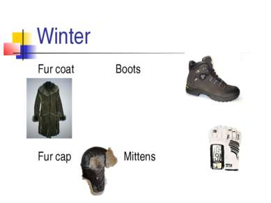 Winter Fur coat Boots Fur cap Mittens