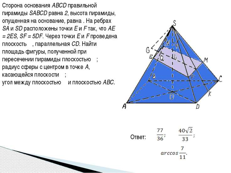Сторона основания ABCD правильной пирамиды SABCD равна 2, высота пирамиды, оп...