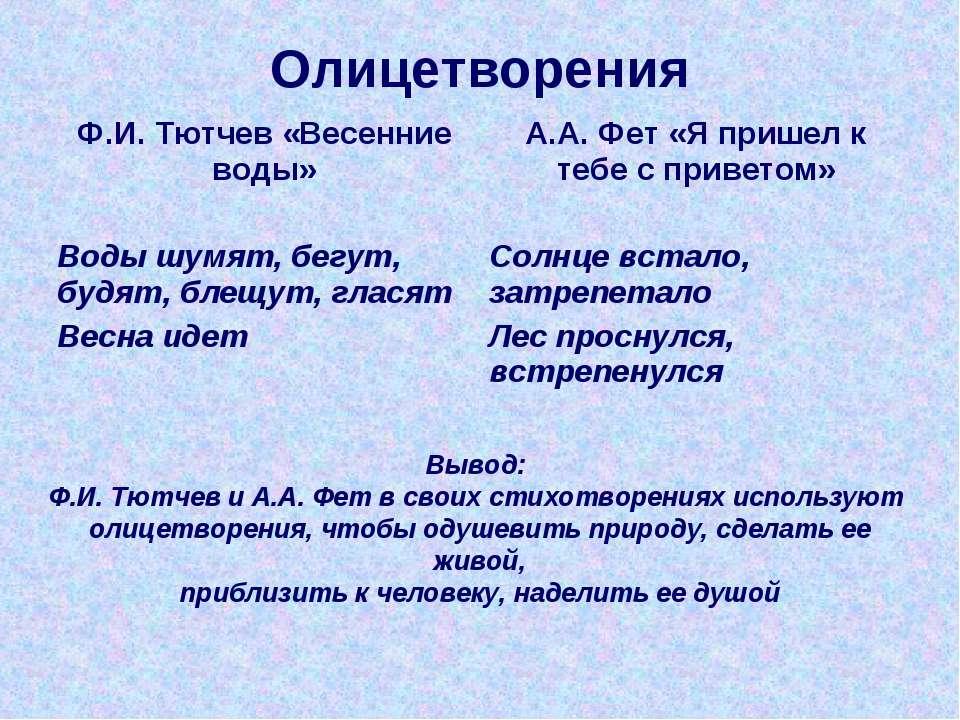 Олицетворения Вывод: Ф.И. Тютчев и А.А. Фет в своих стихотворениях используют...
