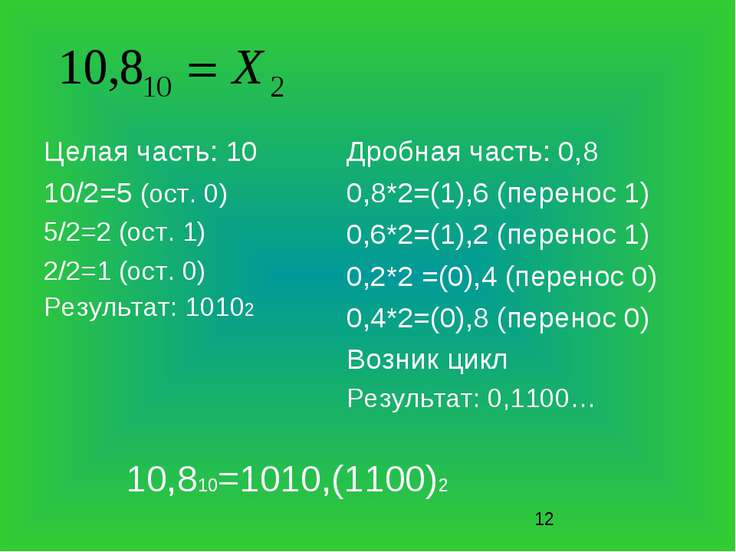 Целая часть: 10 10/2=5 (ост. 0) 5/2=2 (ост. 1) 2/2=1 (ост. 0) Результат: 1010...
