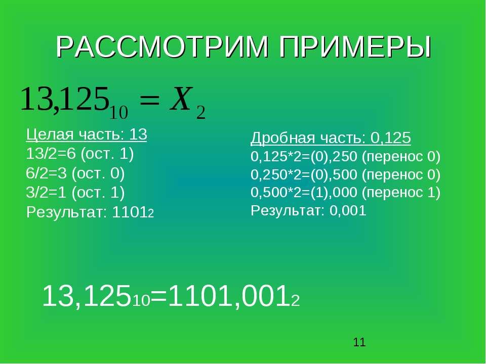 РАССМОТРИМ ПРИМЕРЫ Дробная часть: 0,125 0,125*2=(0),250 (перенос 0) 0,250*2=(...