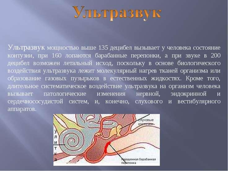 Ультразвук мощностью выше 135 децибел вызывает у человека состояние контузии,...