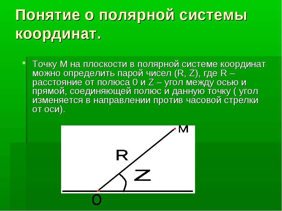 Понятие о полярной системы координат. Точку М на плоскости в полярной системе...