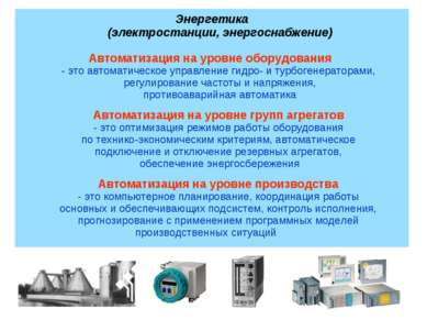 Энергетика (электростанции, энергоснабжение) Автоматизация на уровне оборудов...