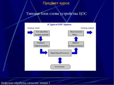 Предмет курса Типовая блок-схема устройства ЦОС Цифровая обработка сигналов: ...