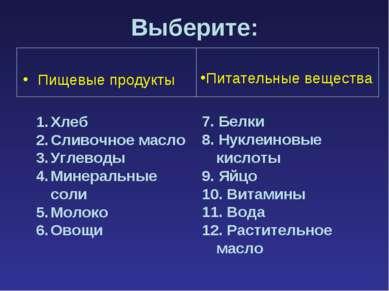 Выберите: Пищевые продукты 7. Белки 8. Нуклеиновые кислоты 9. Яйцо 10. Витами...