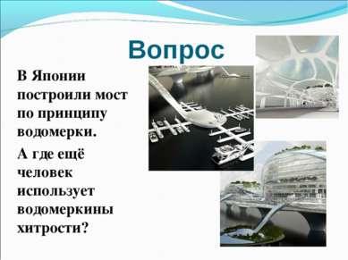 Вопрос В Японии построили мост по принципу водомерки. А где ещё человек испол...