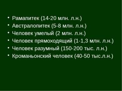 Рамапитек (14-20 млн. л.н.) Австралопитек (5-8 млн. л.н.) Человек умелый (2 м...